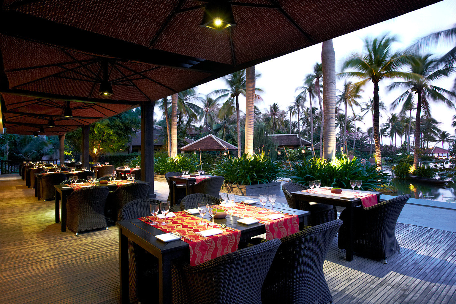 Beachfront Cultural Dining Drink Eat Jungle Outdoors Resort Tropical building restaurant function hall