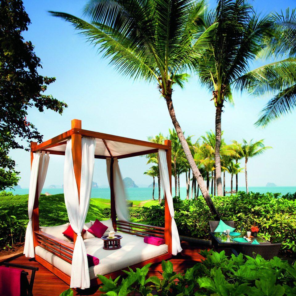 Beachfront Cultural Eco Elegant Honeymoon Jungle Lounge Nature Outdoors Romance Romantic Tropical tree sky Resort arecales tropics flower backyard Garden palm outdoor structure