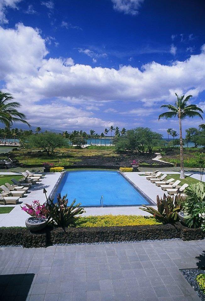 Beachfront Pool sky tree swimming pool Resort plant flower palm Sea Villa Garden Deck bushes