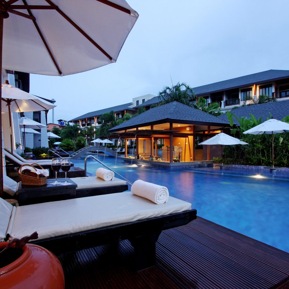 Beachfront Deck Pool Romantic sky water swimming pool leisure property Resort Villa cottage