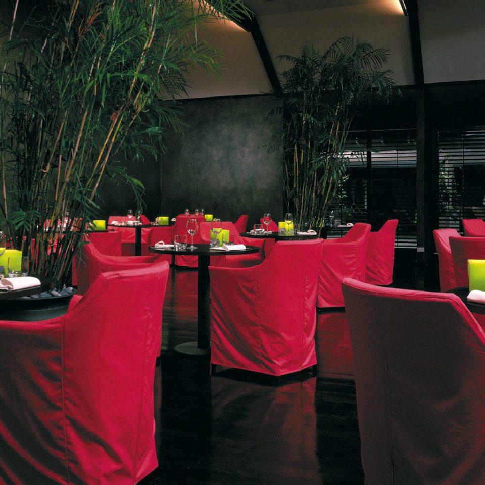 Beachfront Dining Drink Eat Island Luxury Resort Tropical red restaurant Party banquet flower set dark