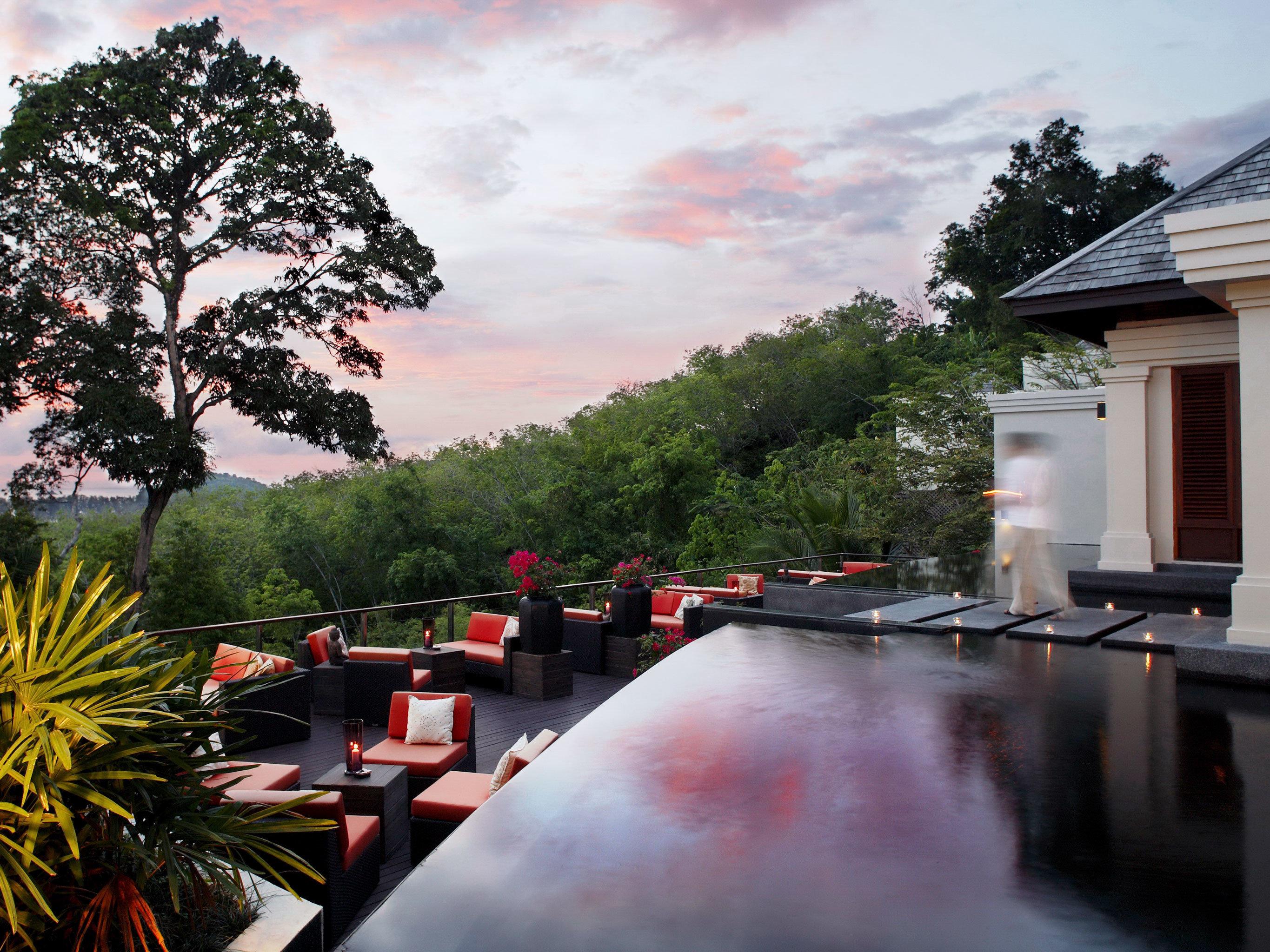 Beachfront Dining Grounds Luxury Modern Pool tree sky house season flower home waterway Garden autumn lined