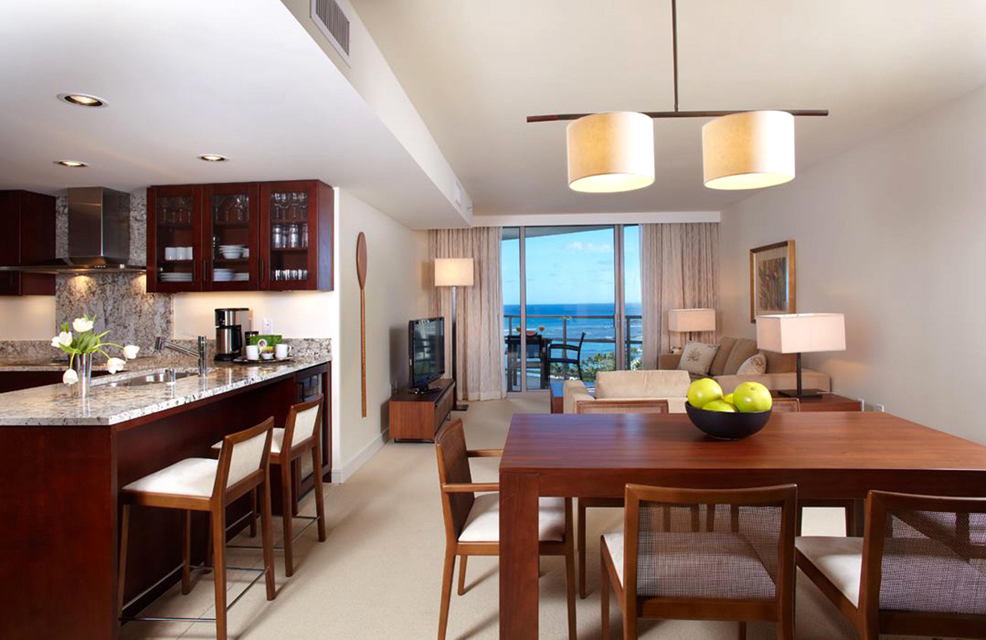 Beachfront Kitchen Luxury property home hardwood condominium cottage Dining living room Villa Modern Island dining table