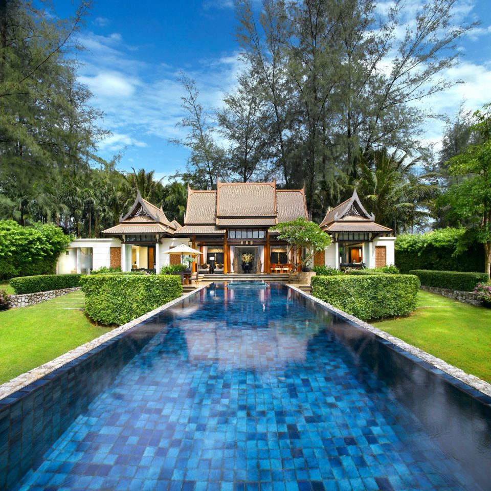 Beachfront Grounds Luxury Pool Romance Romantic Suite tree grass sky swimming pool property house backyard reflecting pool Villa home mansion Resort Garden residential surrounded