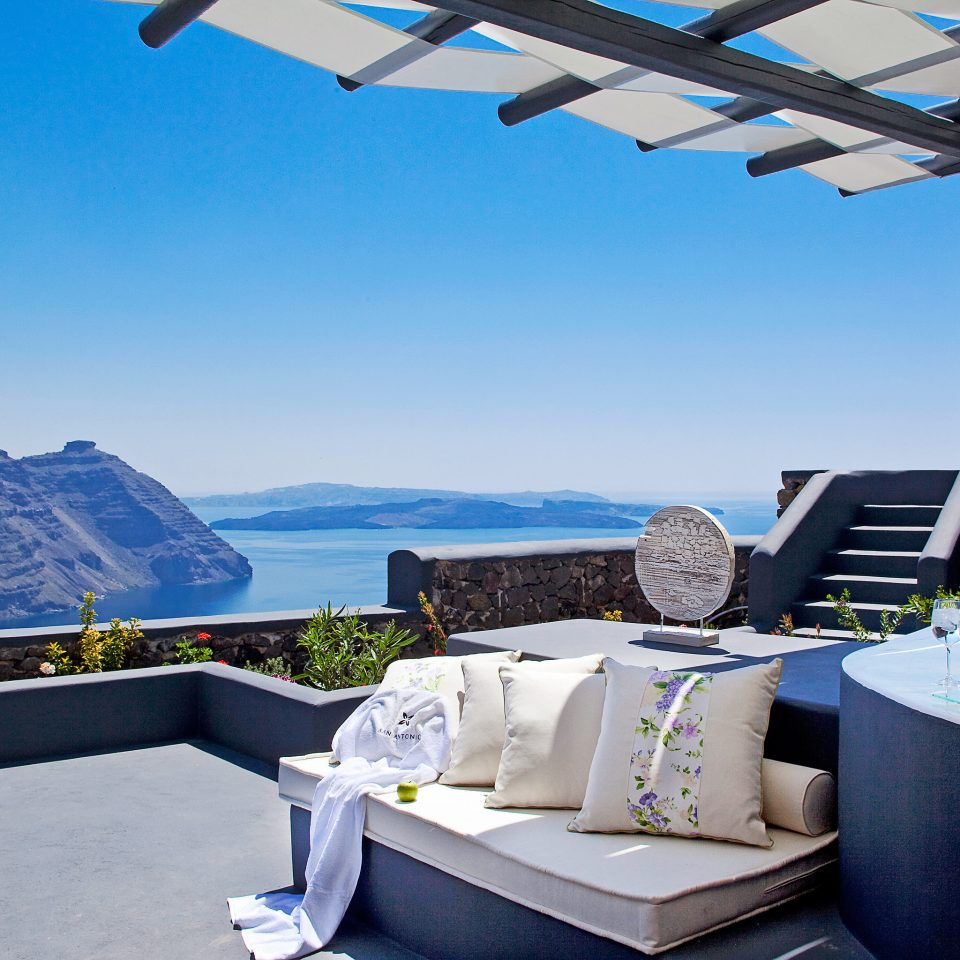 Beachfront Greece Hotels Lounge Luxury Santorini sky blue swimming pool property Villa vehicle yacht cottage Resort passenger ship
