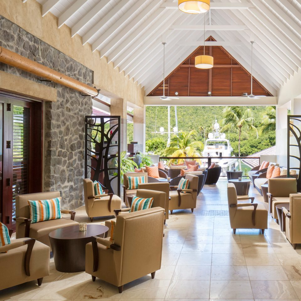 Beachfront Island Lobby Lounge Modern Resort Romantic Tropical property home restaurant living room cottage condominium
