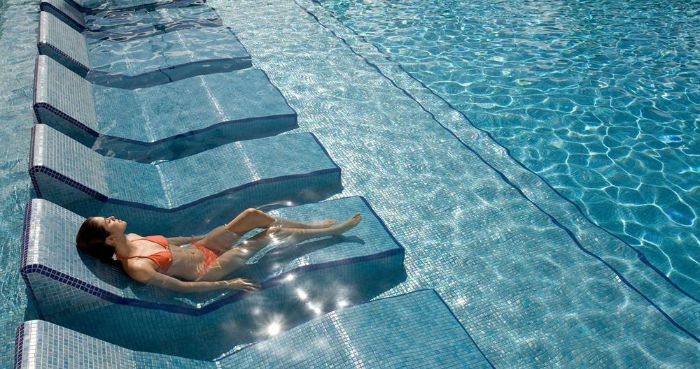 Beachfront Lounge Luxury Modern Pool Tropical blue swimming pool leisure underwater