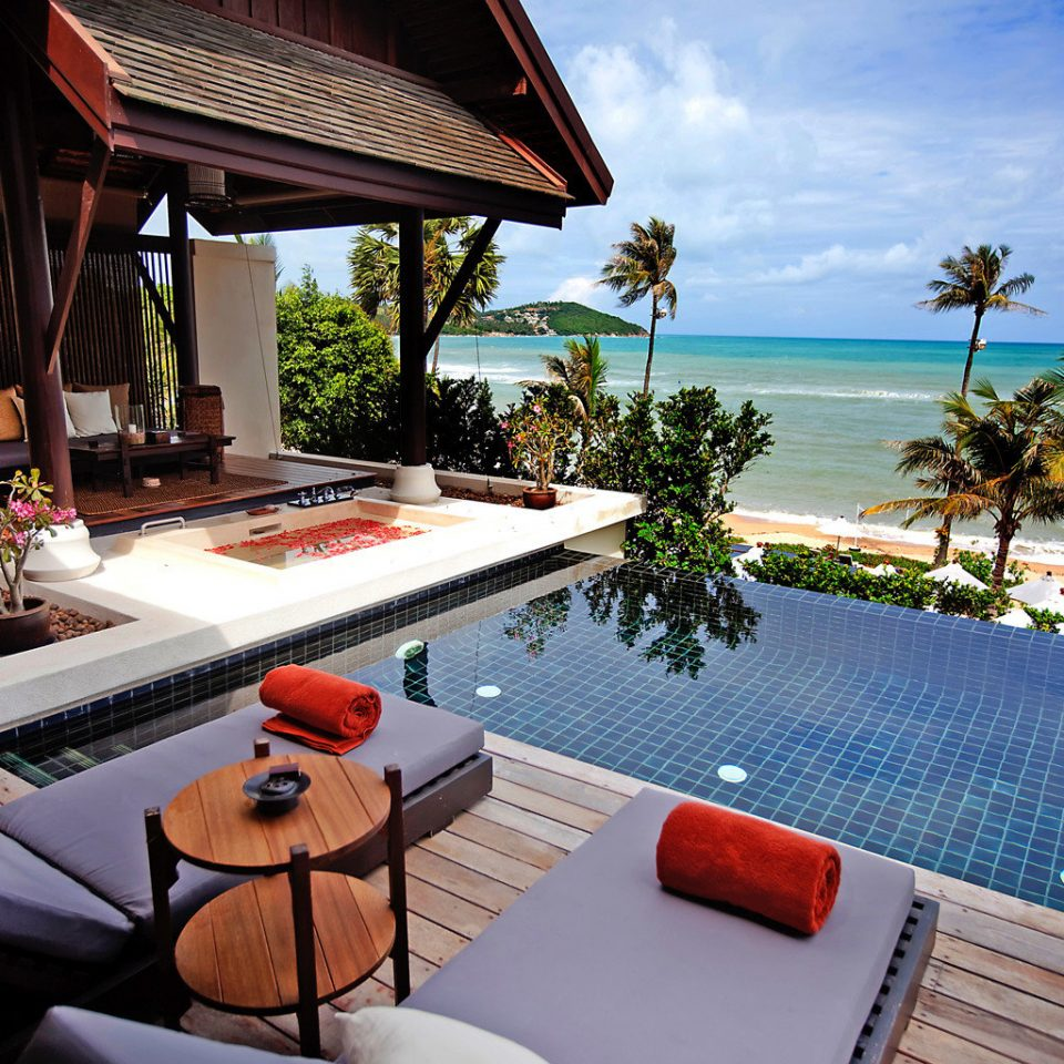 Beachfront Lounge Luxury Modern Pool Scenic views property leisure building Resort Villa swimming pool home cottage condominium caribbean overlooking