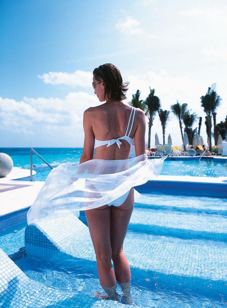 sky water clothing leisure blue swimming pool Beauty leg Sea swimwear swimsuit model photo shoot