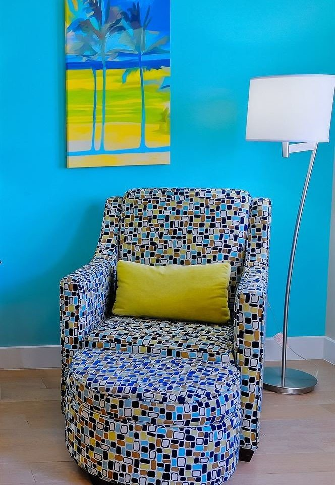 color blue yellow chair product colorful bed sheet living room textile painted colored