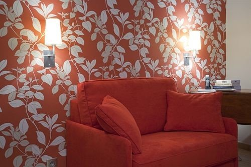 sofa red living room orange wallpaper bed sheet curtain leather