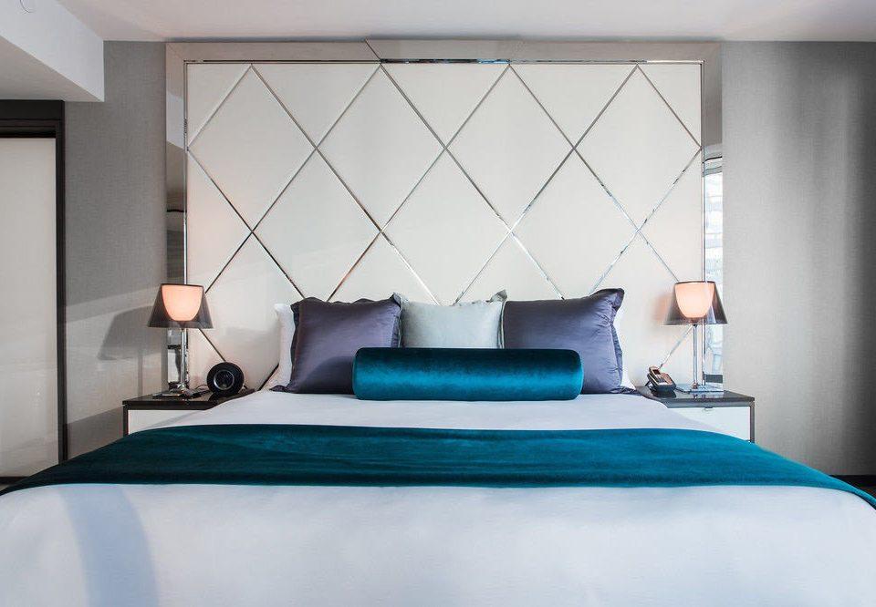 Bedroom blue green pillow bed sheet bed frame living room