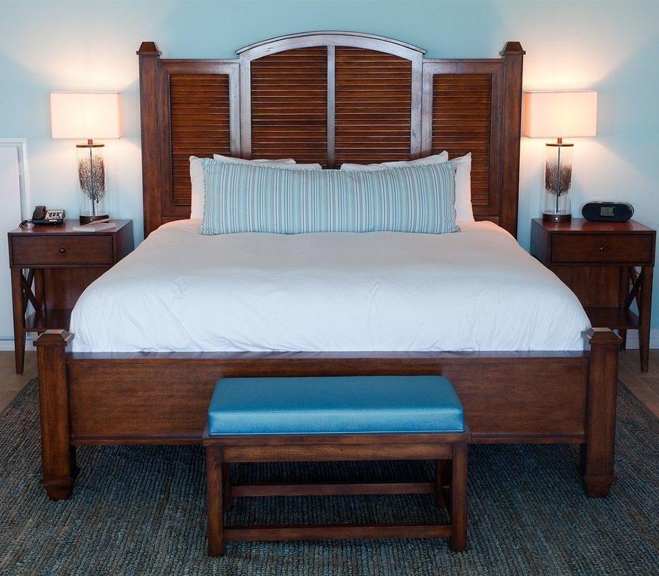 Bedroom bed frame hardwood wooden bed sheet cottage studio couch four poster