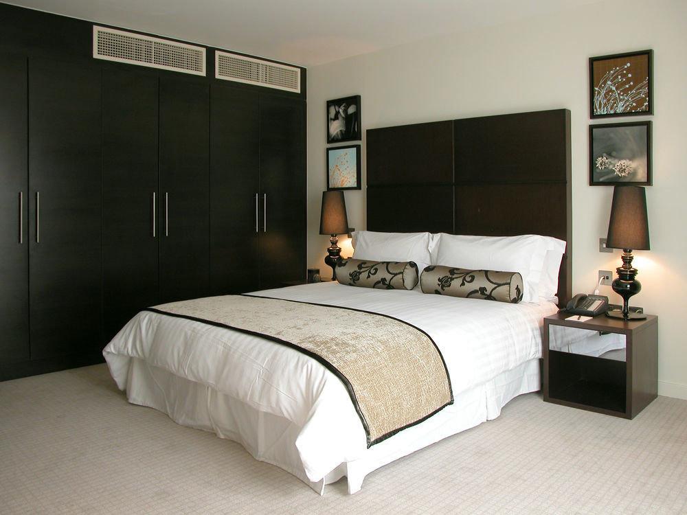 Bedroom property scene bed frame pillow bed sheet lamp night