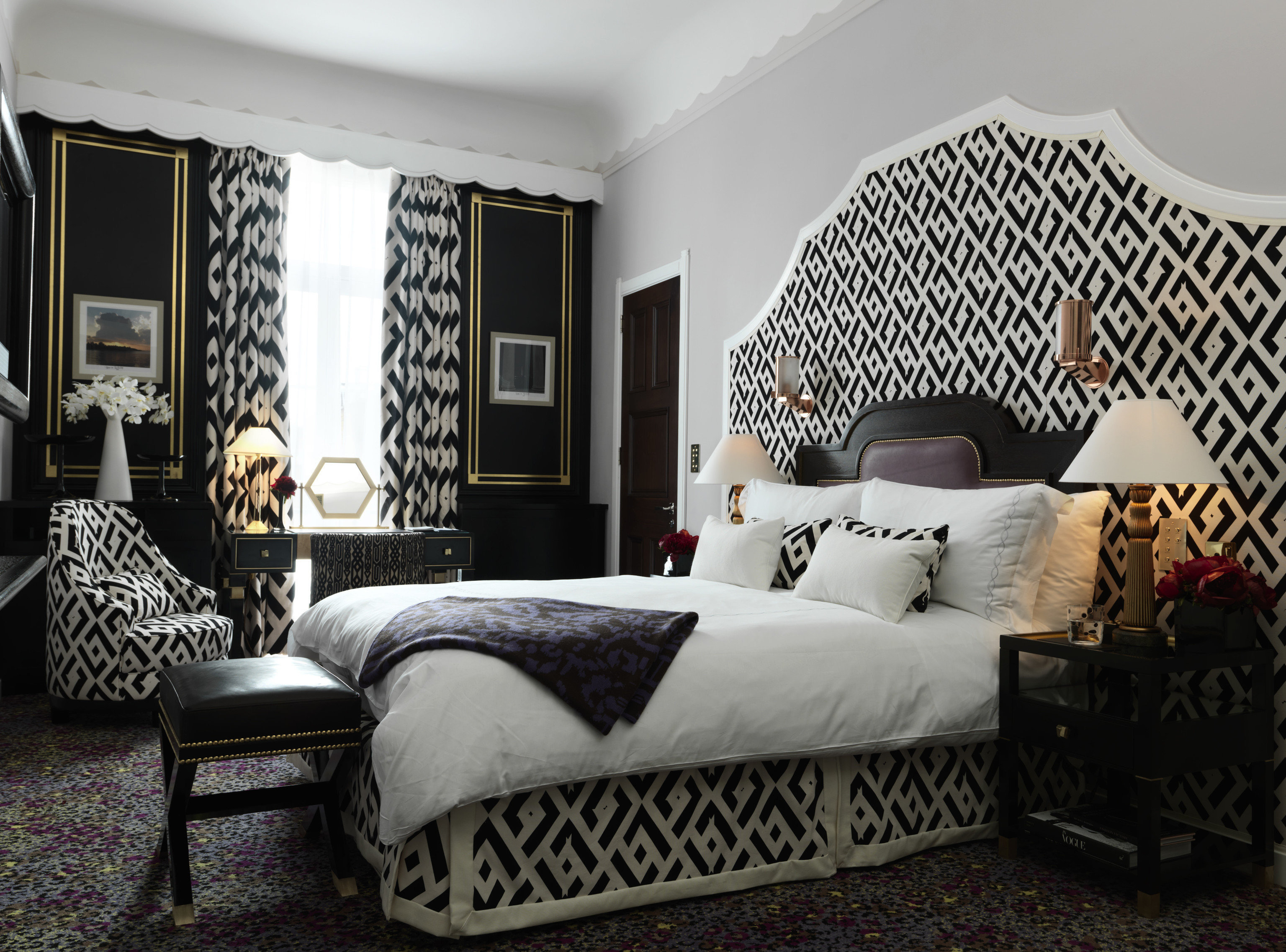 black and white property Bedroom living room bed sheet