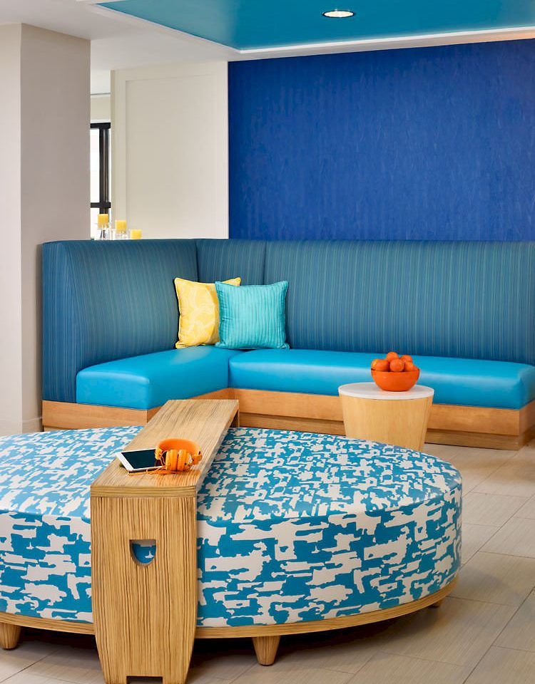 blue living room couch bed sheet studio couch Bedroom colorful bright colored