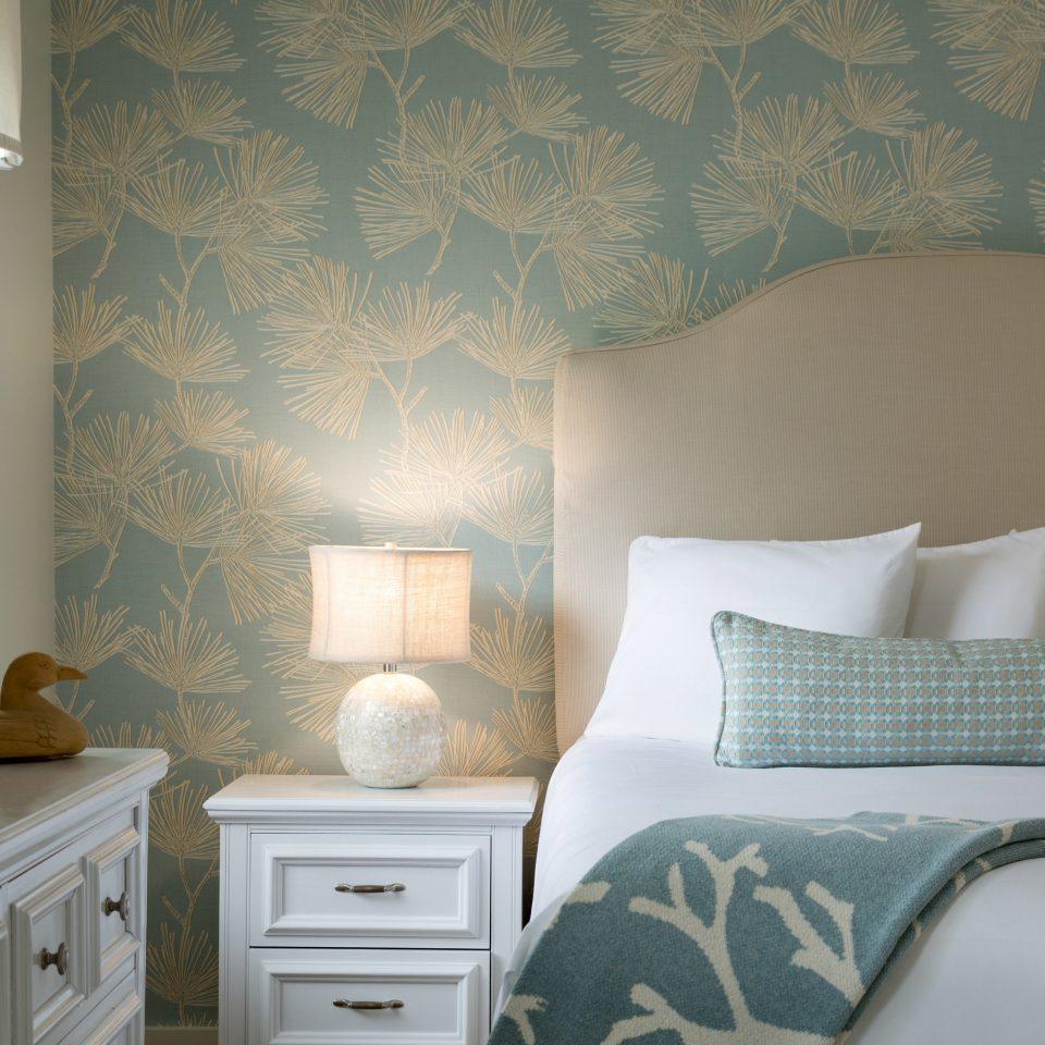 Bedroom green wallpaper textile bed sheet pillow living room