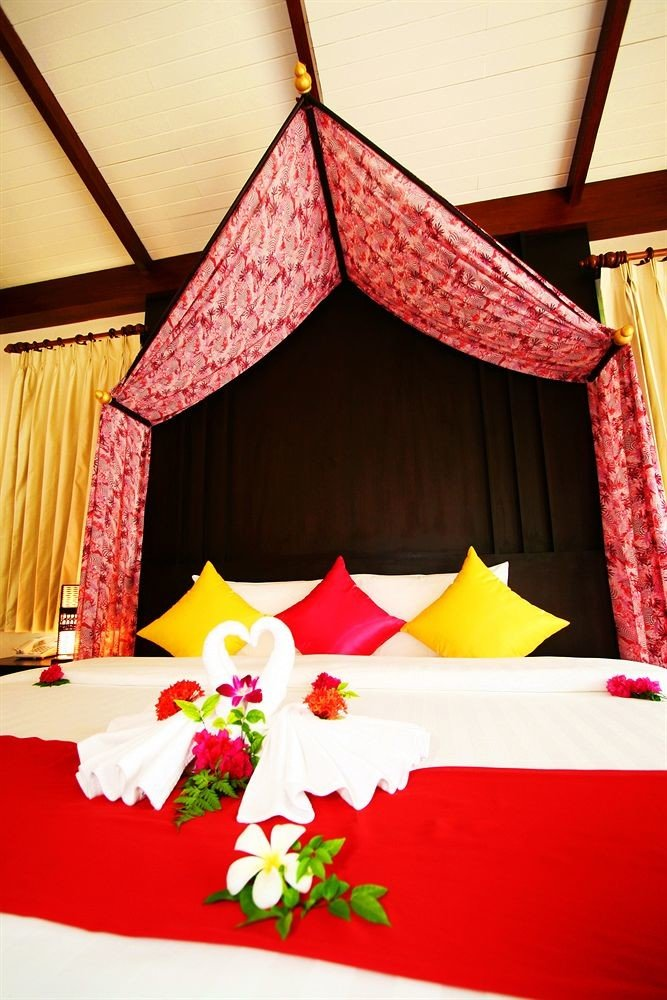 color red curtain orange Bedroom bedclothes