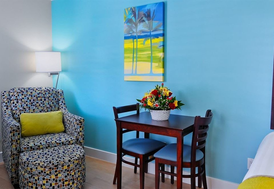 color chair blue yellow property house home living room cottage Bedroom