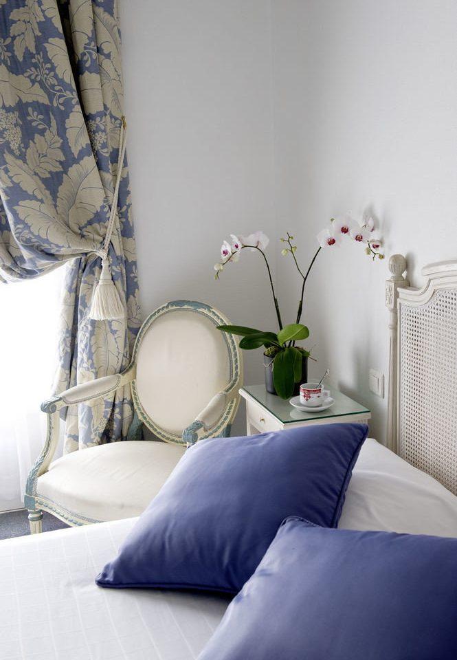 blue pillow living room white wallpaper textile Bedroom