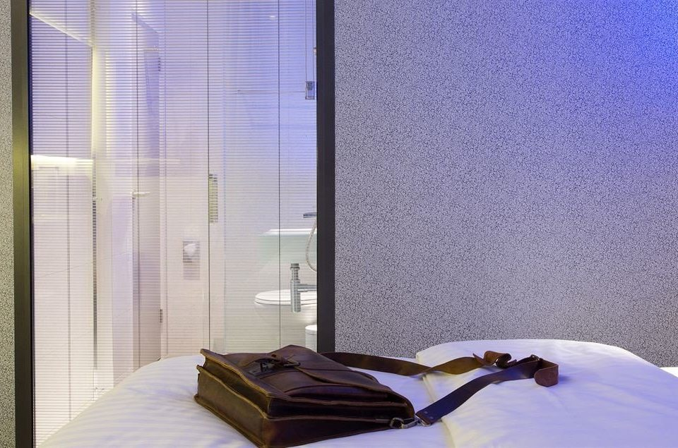 blue window treatment Bedroom