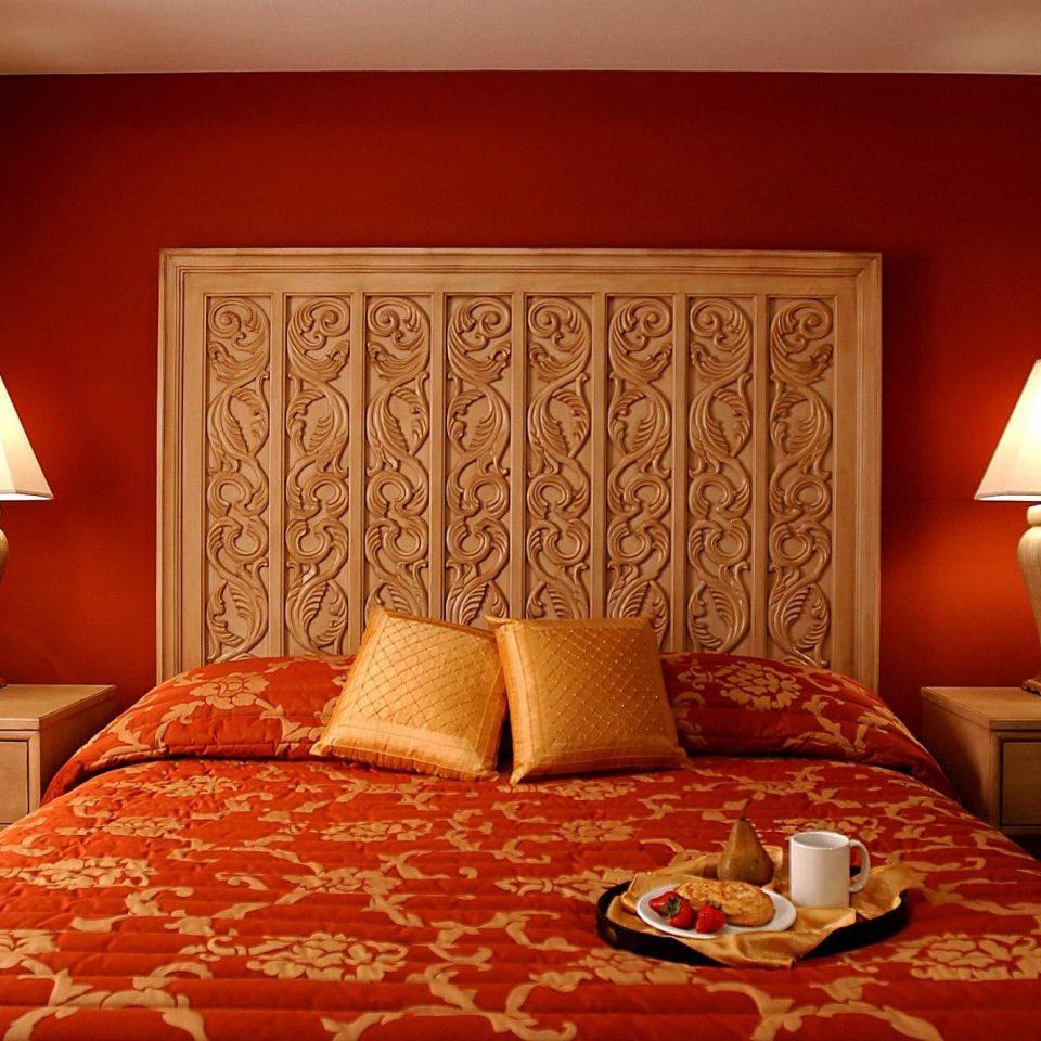 Bedroom Boutique Elegant Suite sofa orange red lamp pillow cottage bed sheet