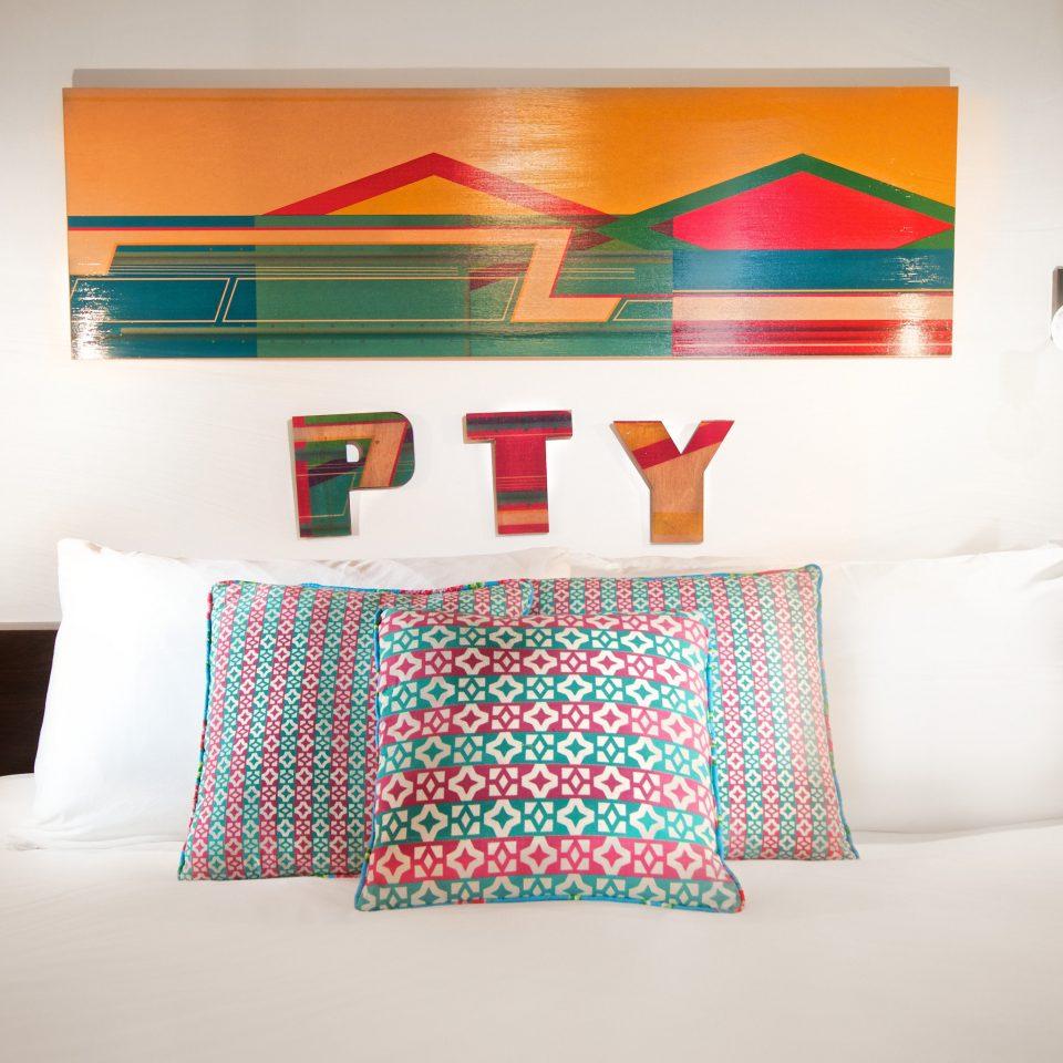 Bedroom Boutique Modern color white pillow scene art bed sheet orange living room modern art night lamp colored