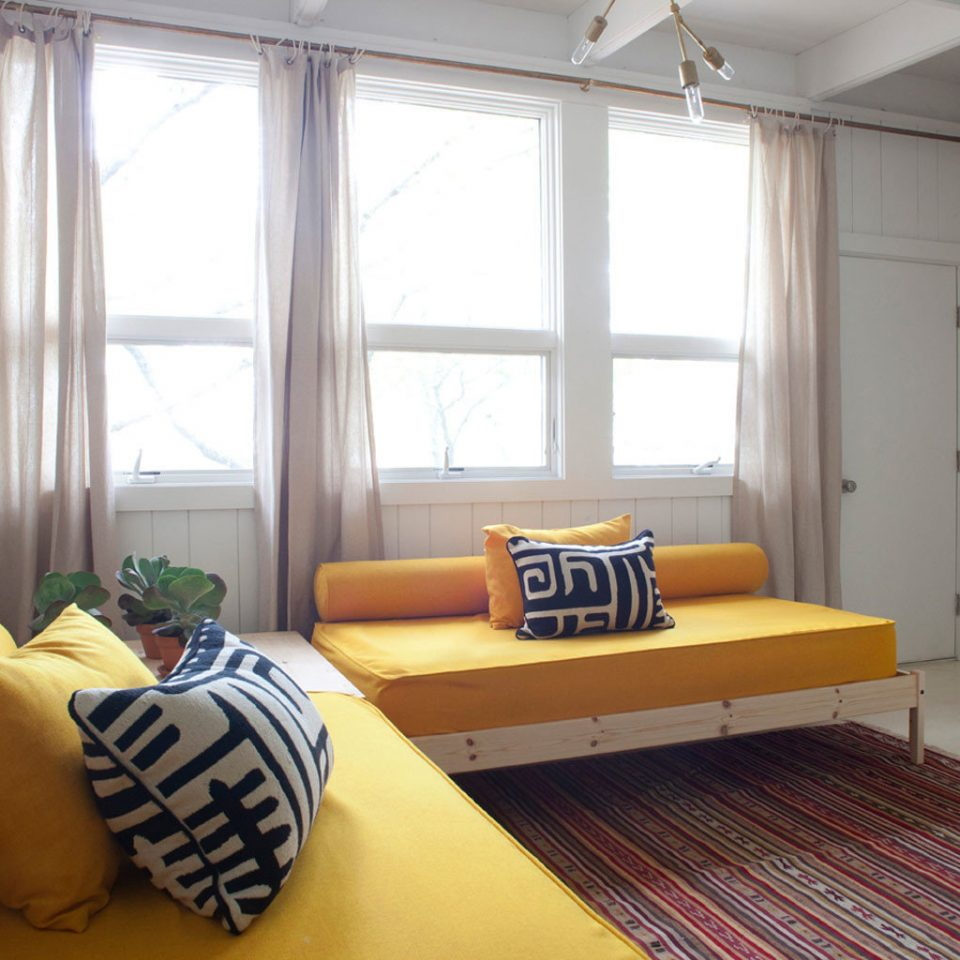Boutique Modern property yellow Bedroom home living room cottage condominium orange
