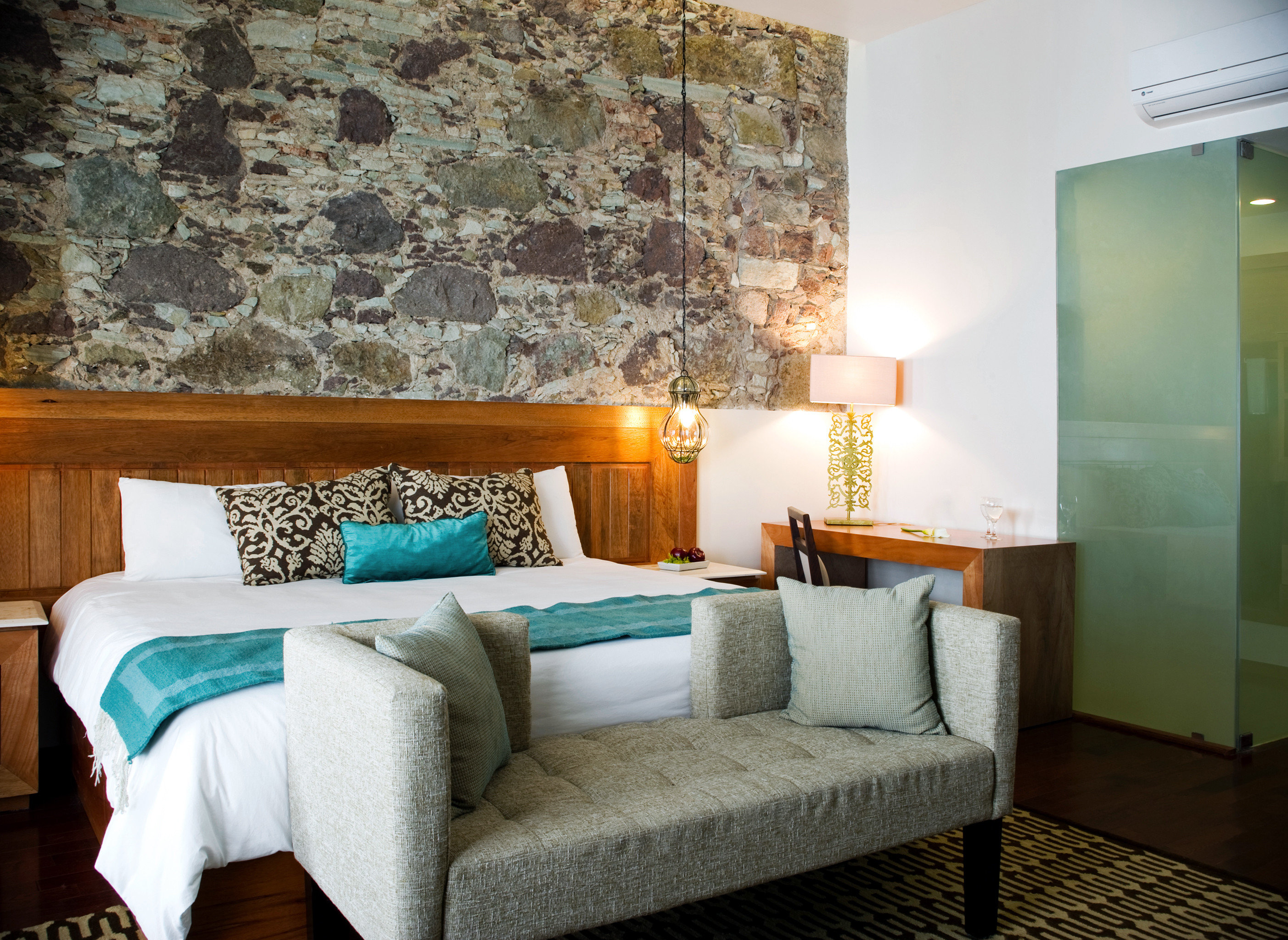 Bedroom Boutique Modern sofa green property living room cottage home Villa Suite colored stone tan