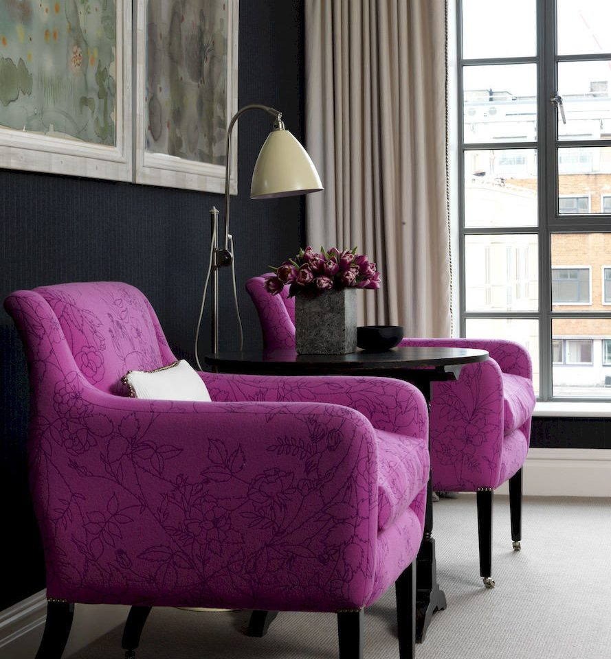 purple pink chair living room couch red flower studio couch loveseat lamp colored Bedroom bright