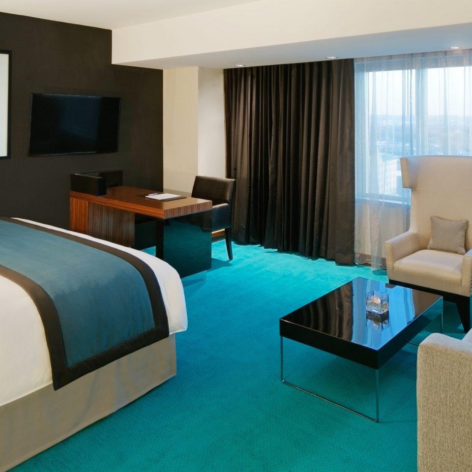 Bedroom Business Hip Modern sofa property Suite condominium blue Resort living room Villa