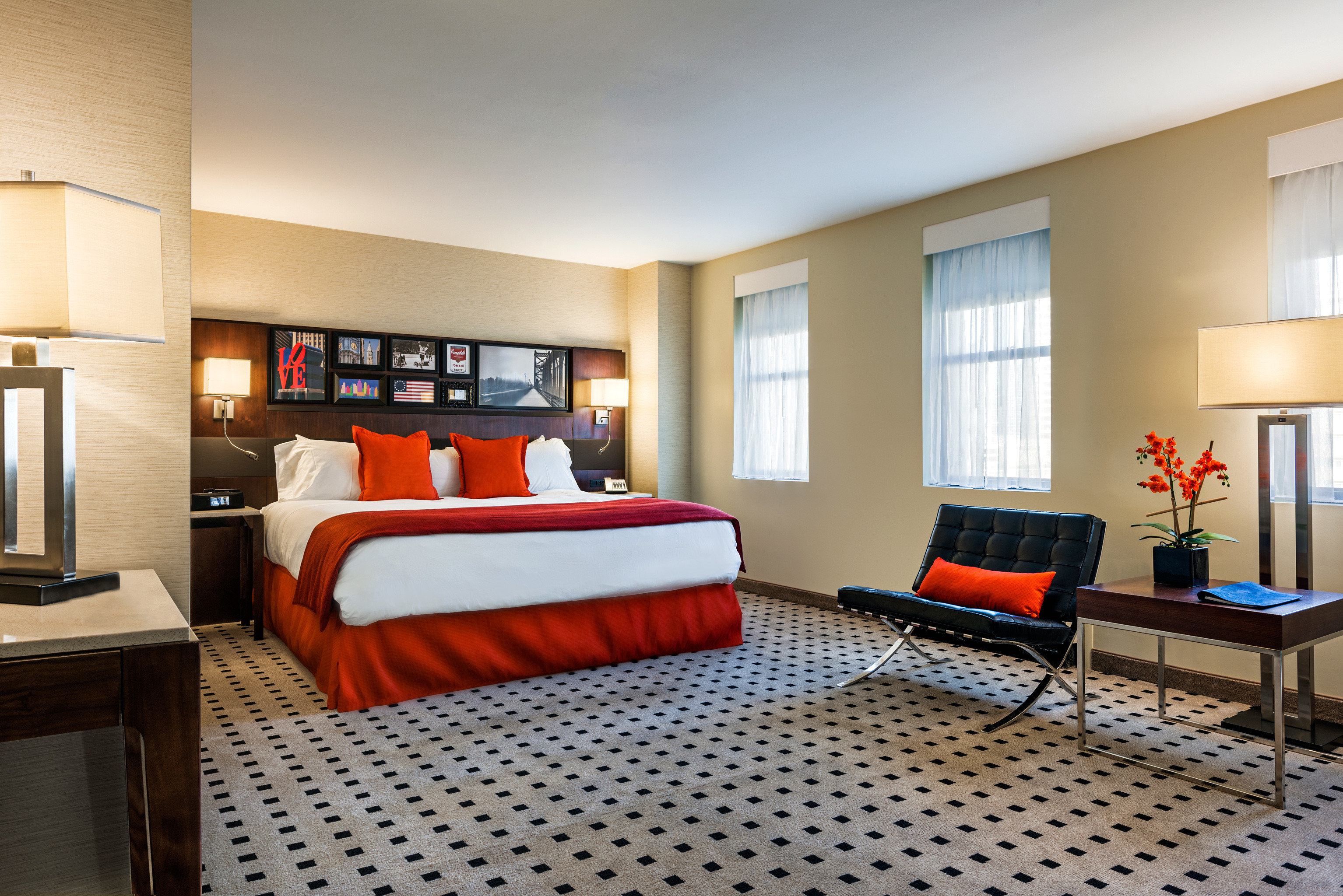 Bedroom Business Modern property condominium Suite living room red hardwood home orange