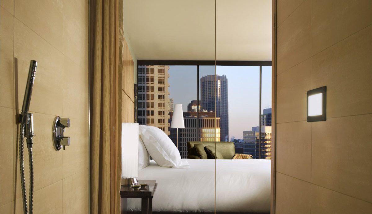 Bedroom City Hip Luxury Modern Scenic views Suite mirror bathroom house property home plumbing fixture living room