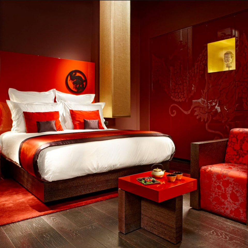 Bedroom City Hip Luxury Romance red sofa Suite living room orange