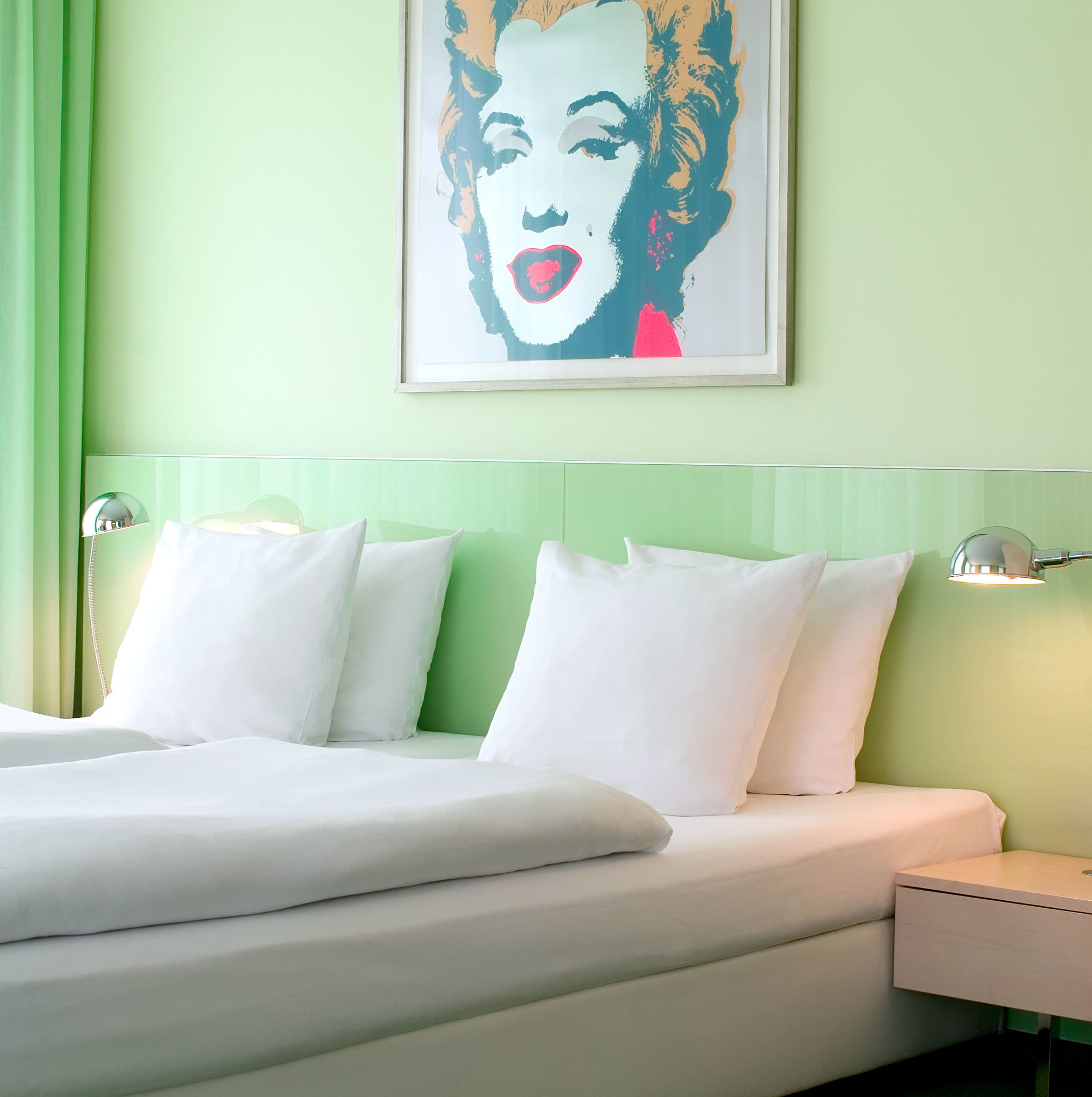 Bedroom City Hip Modern sofa green color white pillow modern art living room seat art colored