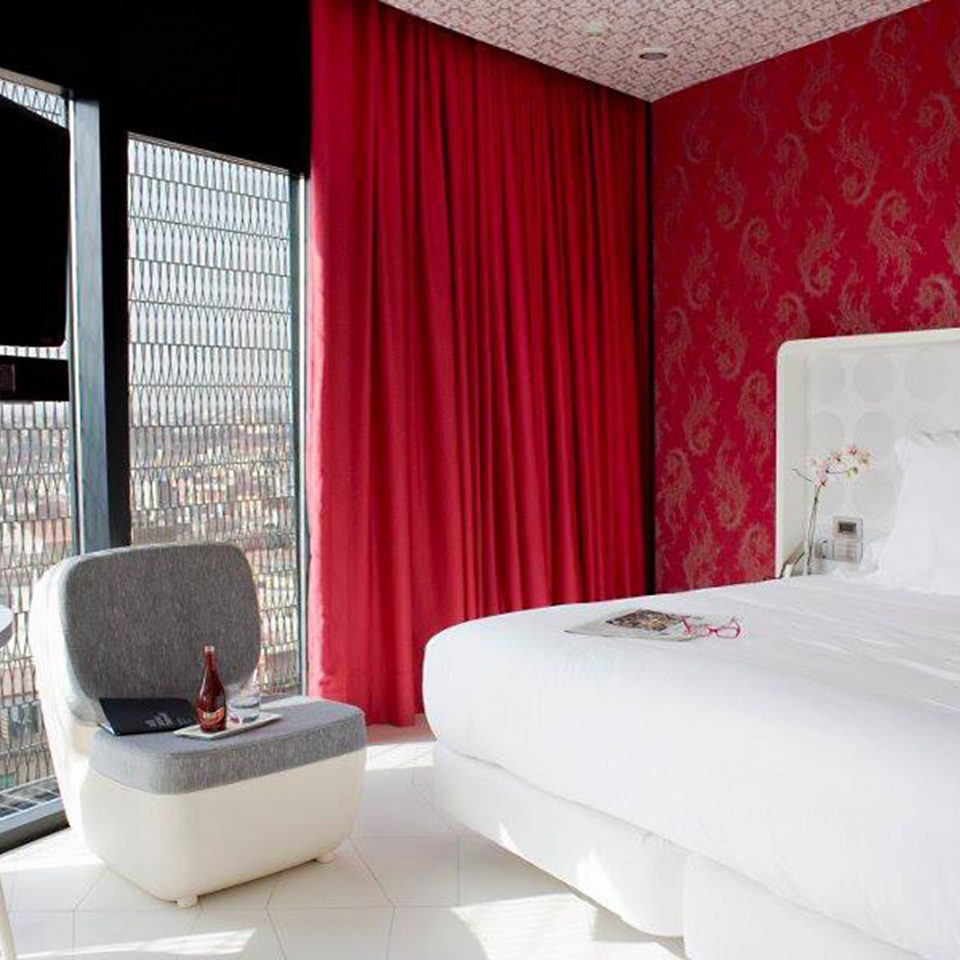 Bedroom City Hip Modern Scenic views property red white curtain Suite