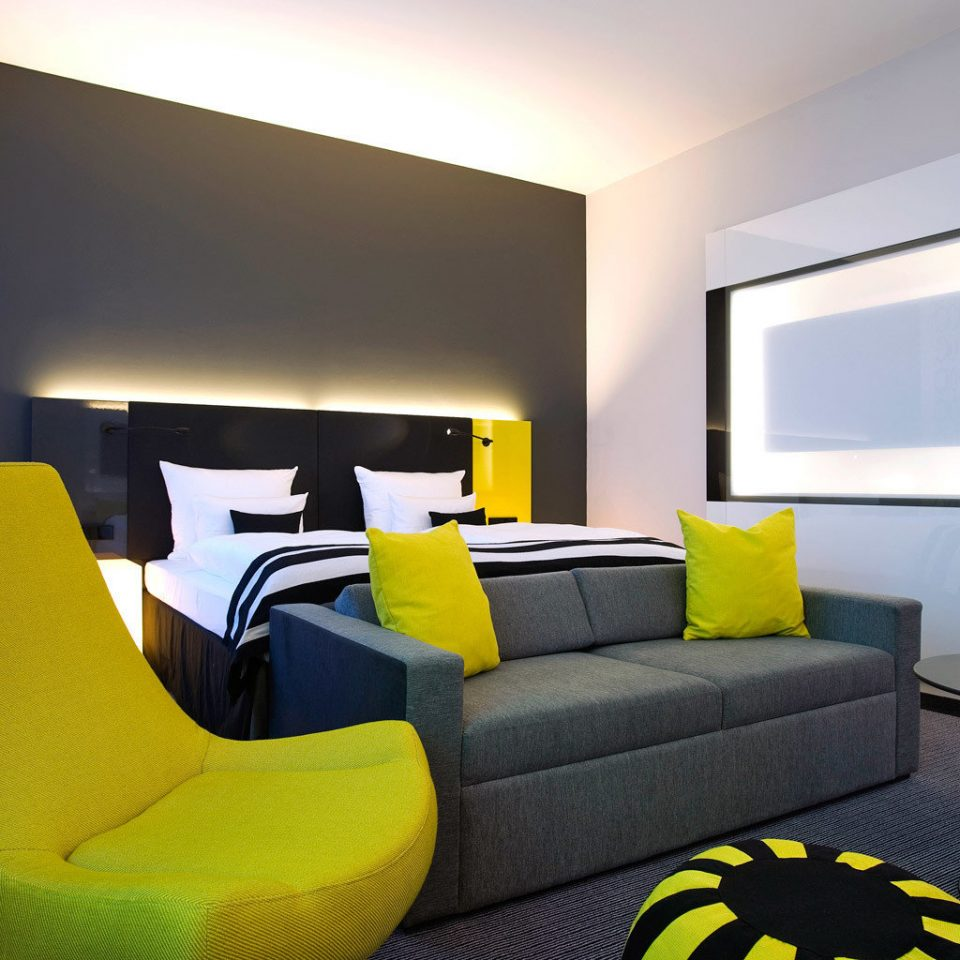 Bedroom City Hip Modern yellow sofa living room property couch bed sheet bright colored