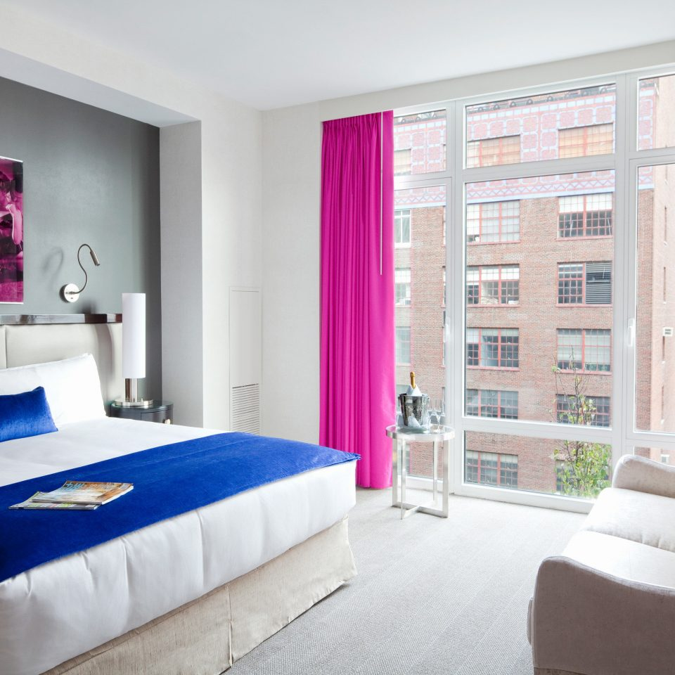 Bedroom City Hip Modern Scenic views sofa property curtain living room scene home blue textile bed sheet flat colored