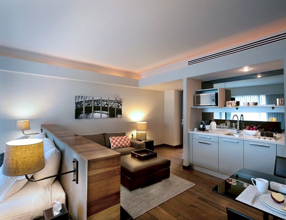 Bedroom City Kitchen Suite property living room home condominium hardwood lighting cottage counter Modern