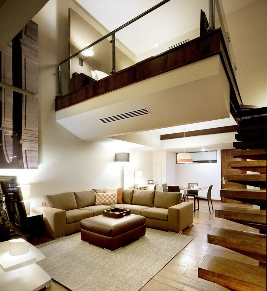 Bedroom City Lounge Modern Suite living room property house home stairs condominium loft lighting Lobby Villa
