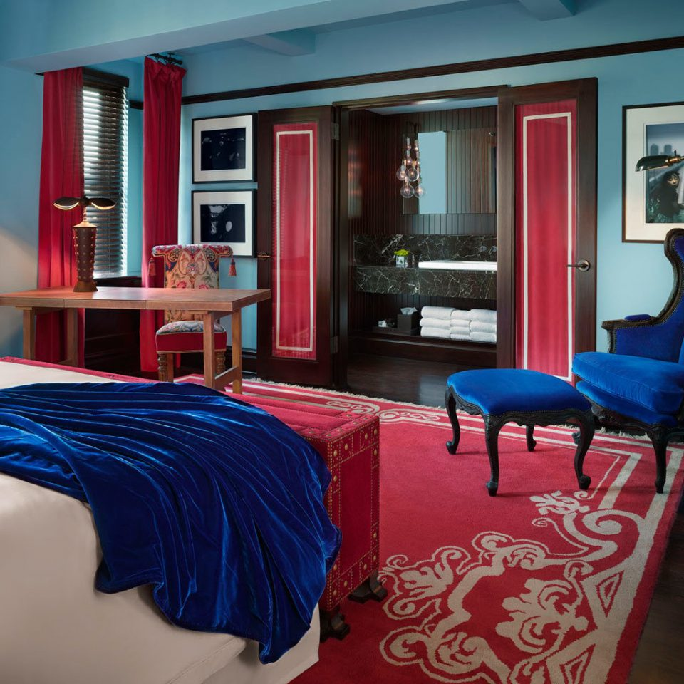Bedroom City Luxury red property house Suite home living room cottage blue bright colorful