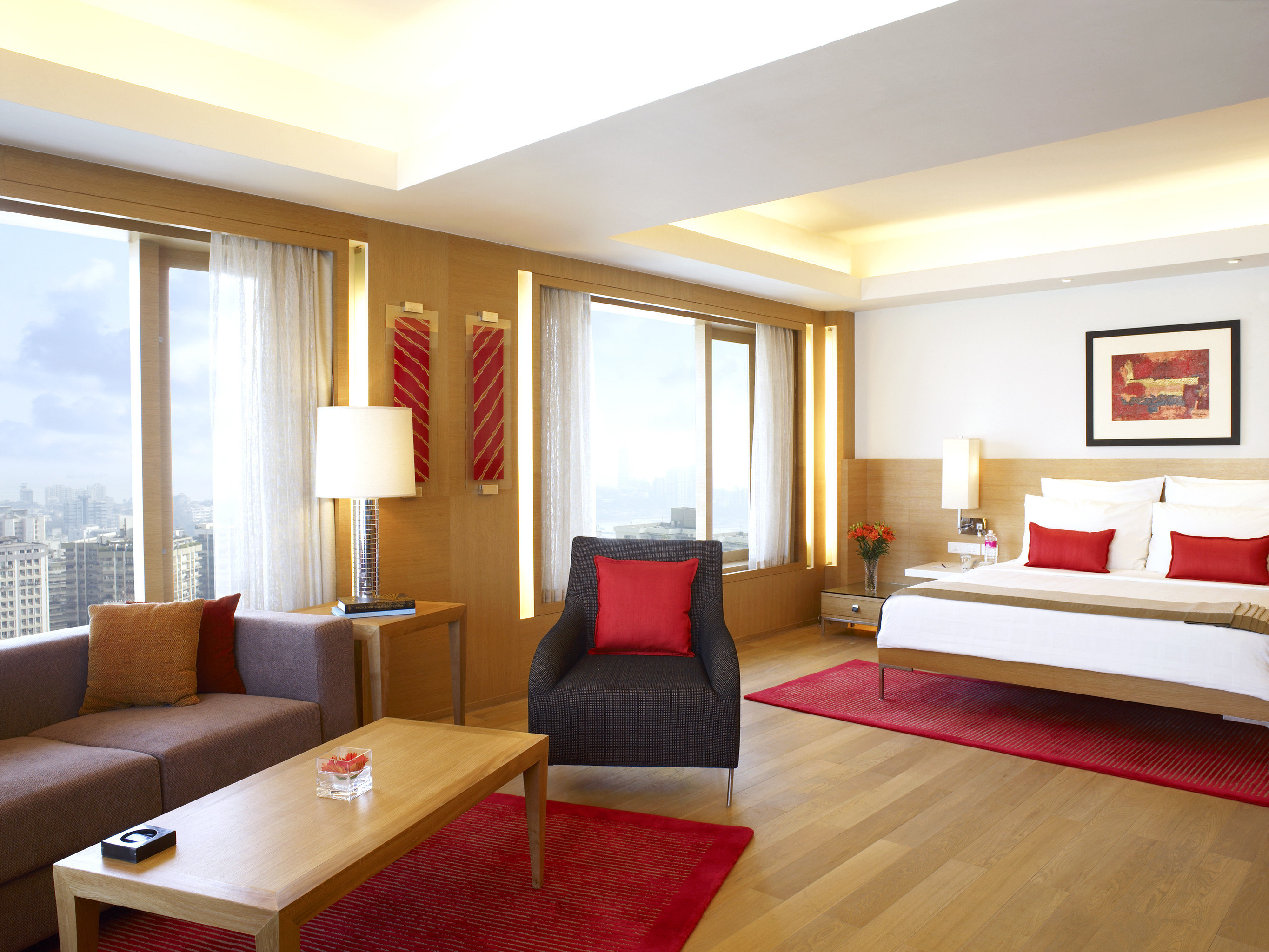 Bedroom City Modern Scenic views Waterfront property Suite red living room condominium Resort Villa flat clean