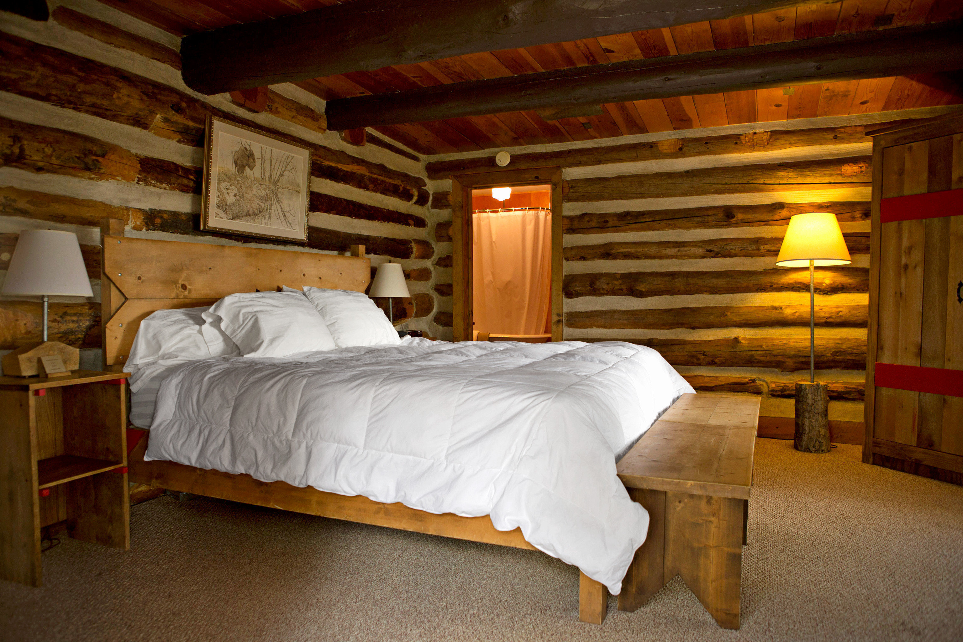 Bedroom Country Mountains Ranch Rustic property building house log cabin cottage farmhouse night