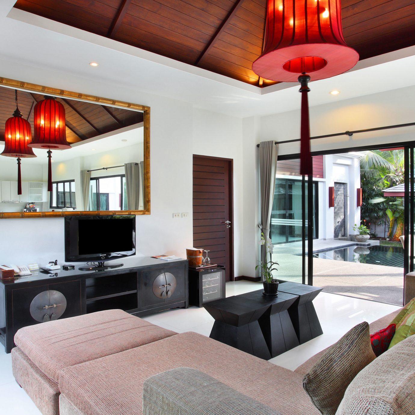 Cultural Elegant Jungle Lounge Patio Pool Suite Tropical sofa property living room home cottage Villa Bedroom condominium loft flat