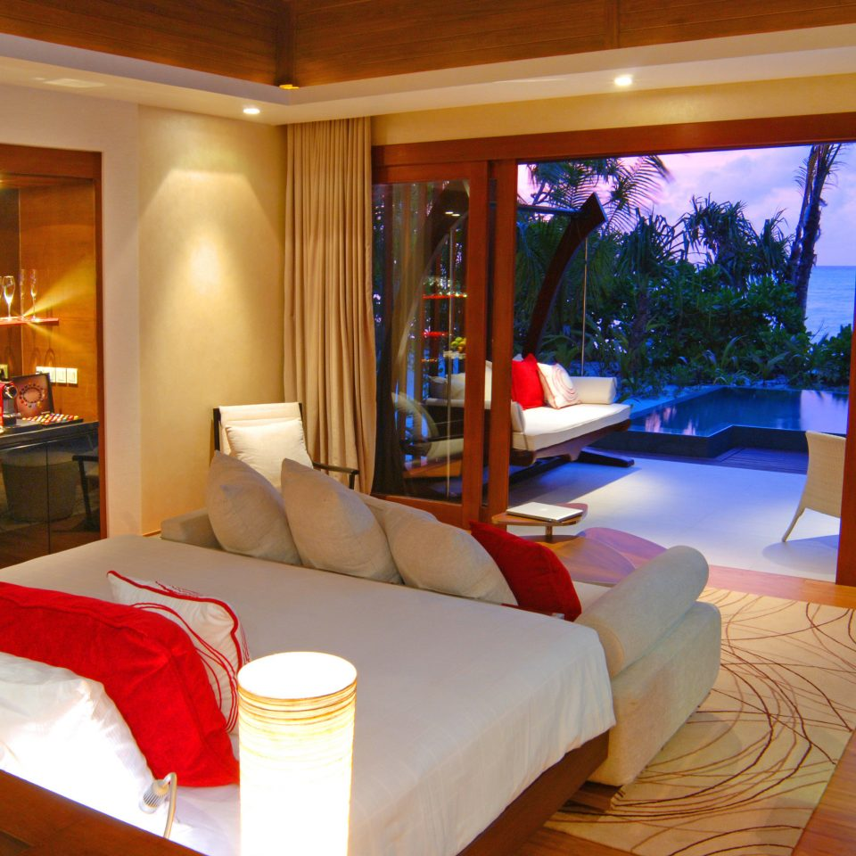 Bedroom Deck Elegant Luxury Modern Scenic views Suite Villa property Resort living room