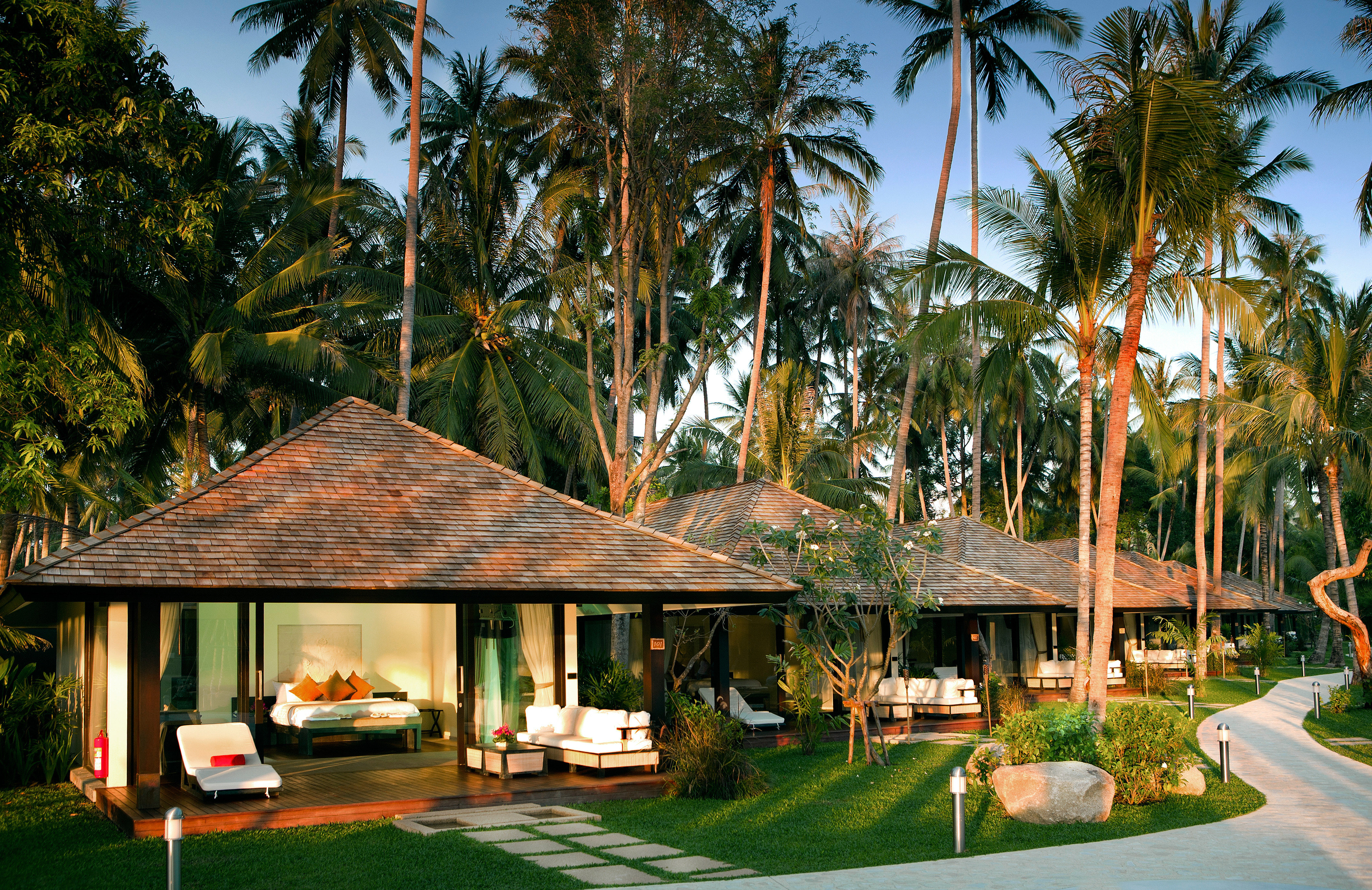 Bedroom Deck Grounds Modern Resort Suite tree grass palm arecales plant home caribbean eco hotel Jungle restaurant tropics swimming pool lawn Garden lined surrounded