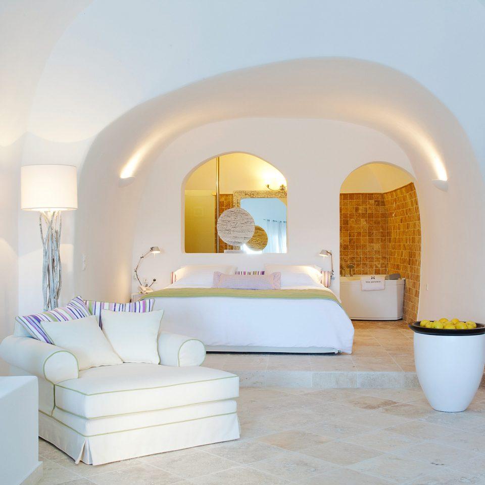 Bedroom Elegant Greece Hotels Luxury Modern Santorini Suite property living room white home Villa cottage