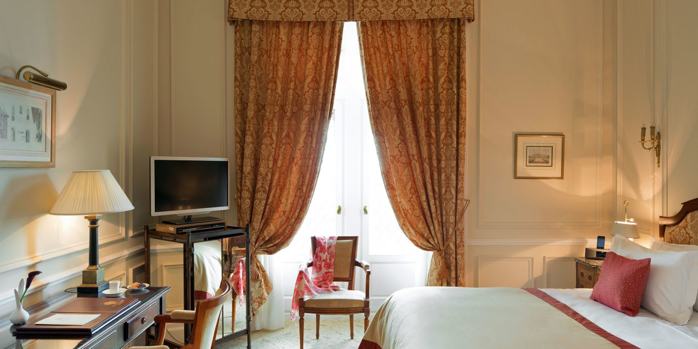 Bedroom Elegant Historic Luxury Suite curtain textile window treatment cottage