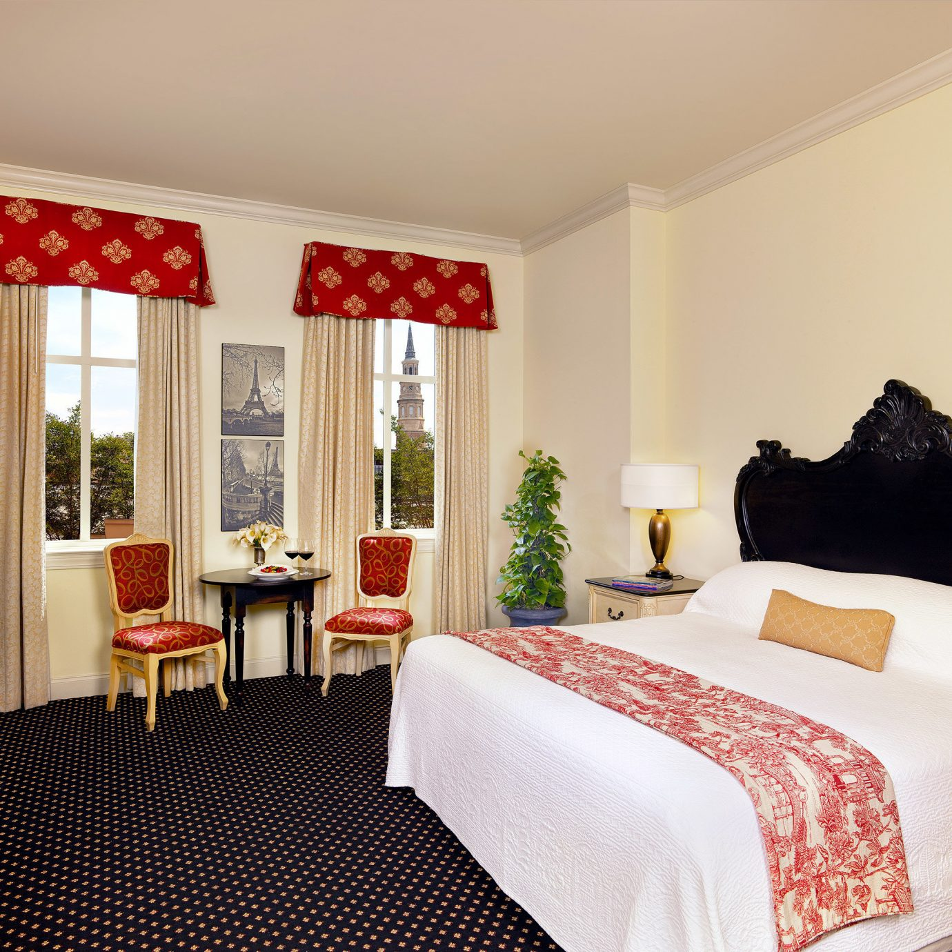 Bedroom Elegant Inn Romantic Scenic views red property Suite cottage bed sheet living room