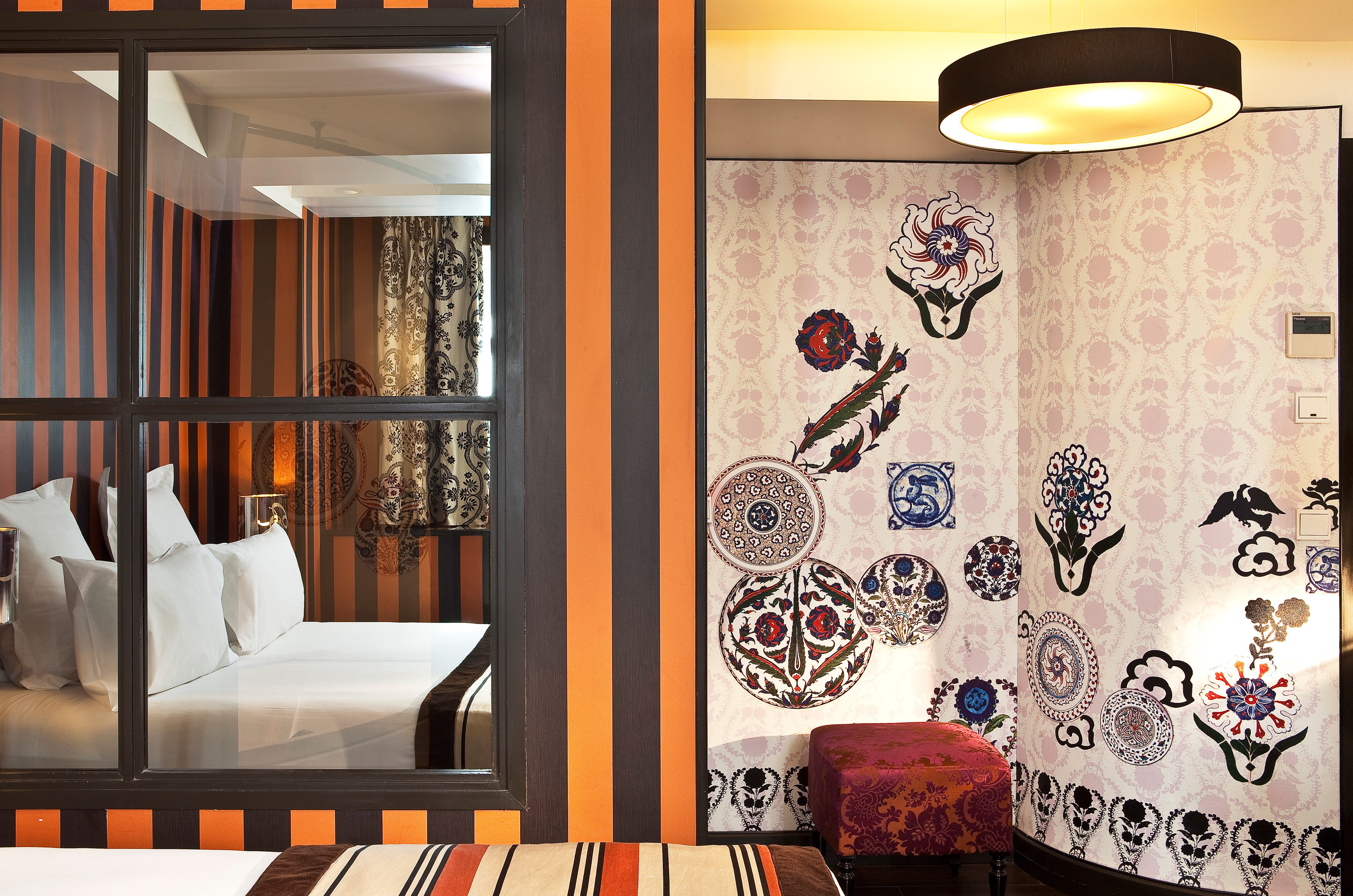 Bedroom Elegant Luxury Modern Romantic Suite modern art window treatment colored colorful